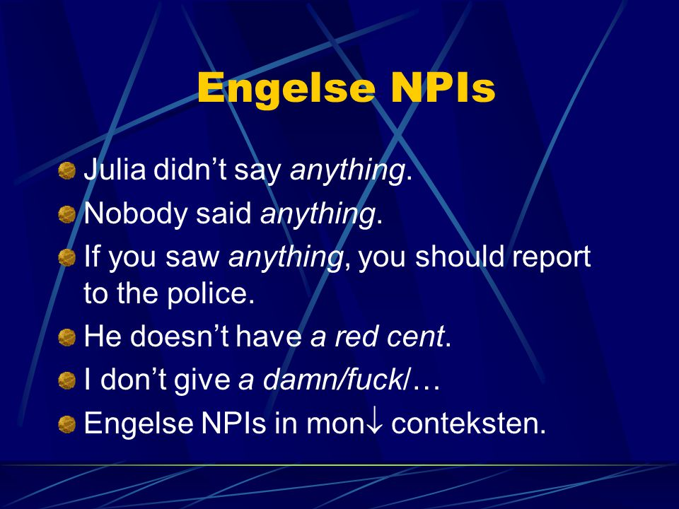 Engelse NPIs Julia didn't say anything. Nobody said anything.