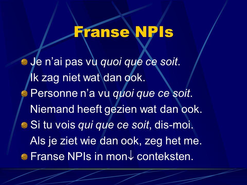 Franse NPIs Je n'ai pas vu quoi que ce soit. Ik zag niet wat dan ook.