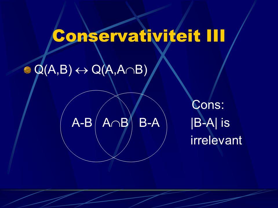 Conservativiteit III Q(A,B)  Q(A,AB) Cons: A-B AB B-A |B-A| is