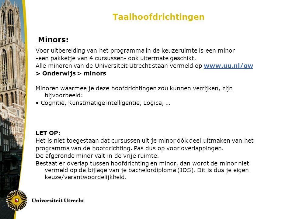 Taalhoofdrichtingen Minors: