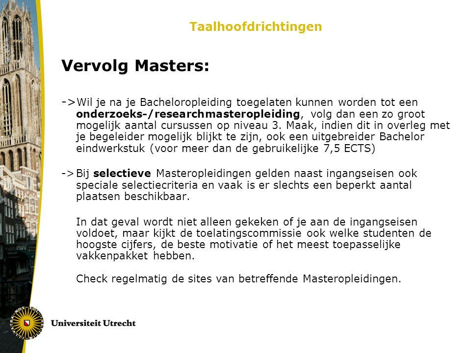 Vervolg Masters: Taalhoofdrichtingen