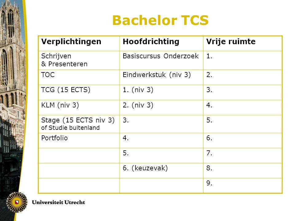 Bachelor TCS Verplichtingen Hoofdrichting Vrije ruimte