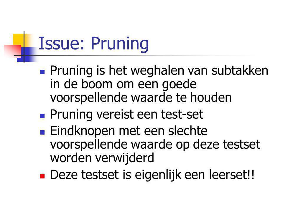 Issue: Pruning Pruning is het weghalen van subtakken in de boom om een goede voorspellende waarde te houden.