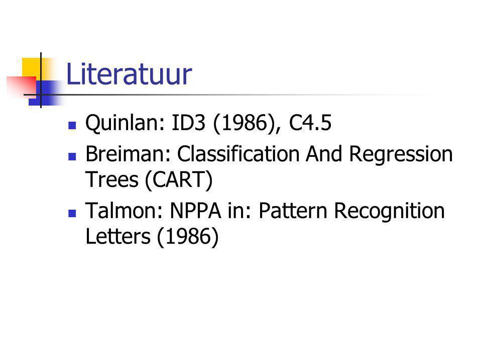 Literatuur Quinlan: ID3 (1986), C4.5