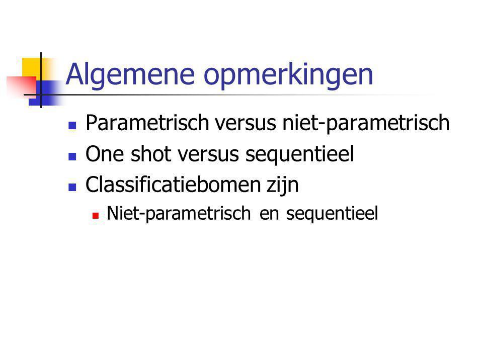 Algemene opmerkingen Parametrisch versus niet-parametrisch