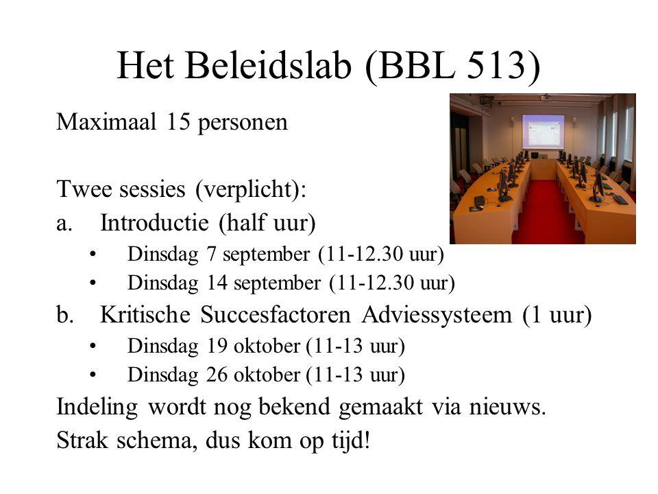 Het Beleidslab (BBL 513) Maximaal 15 personen