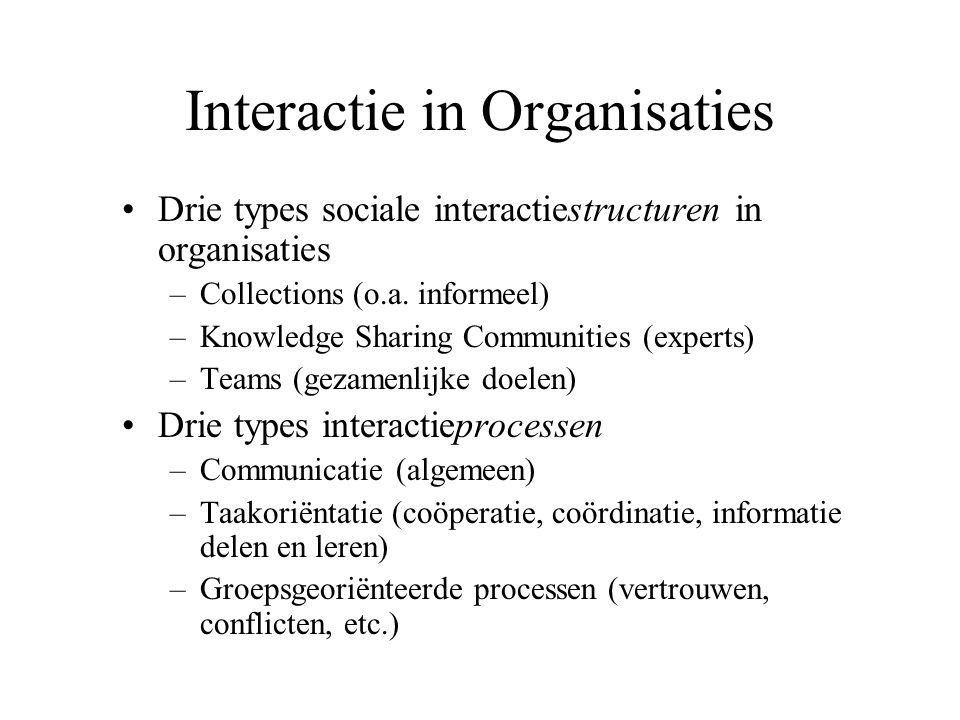 Interactie in Organisaties