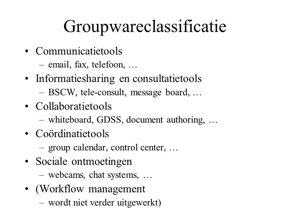Groupwareclassificatie