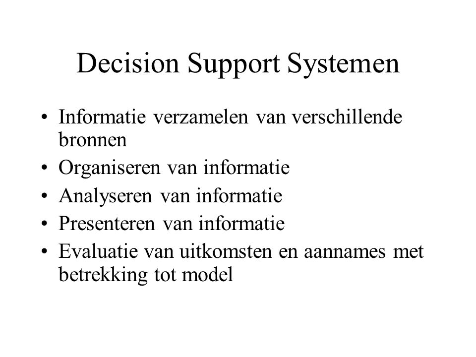 Decision Support Systemen