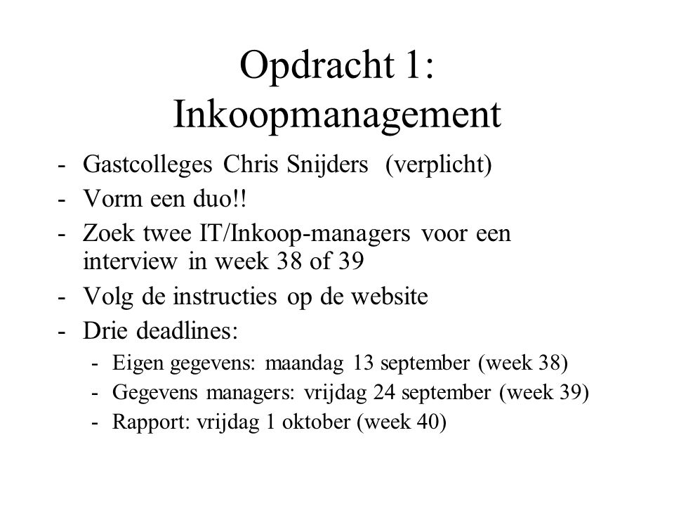 Opdracht 1: Inkoopmanagement
