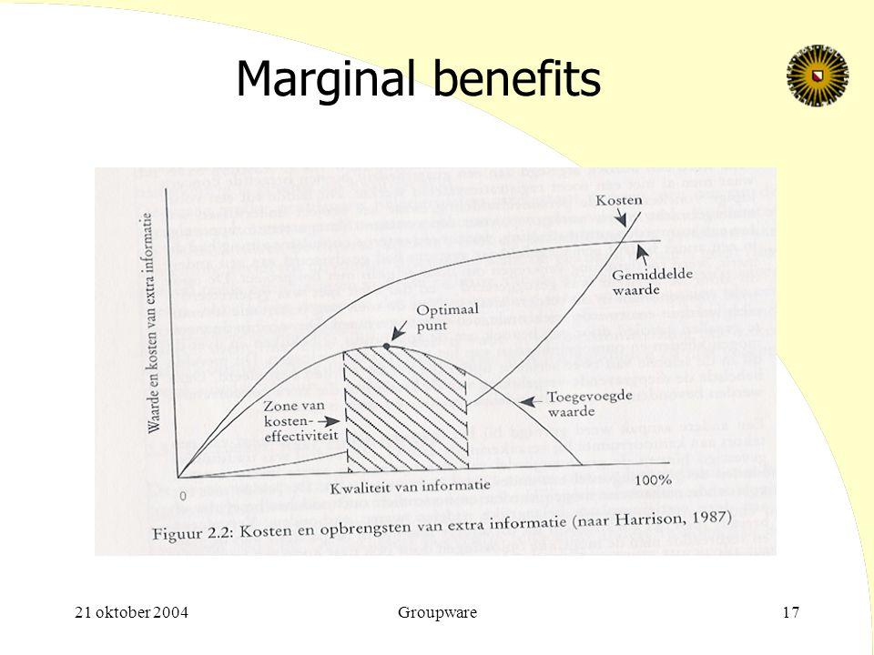 Marginal benefits 21 oktober 2004 Groupware