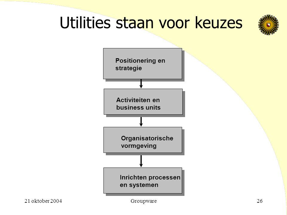 Utilities staan voor keuzes