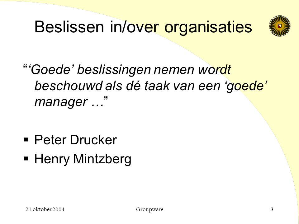 Beslissen in/over organisaties