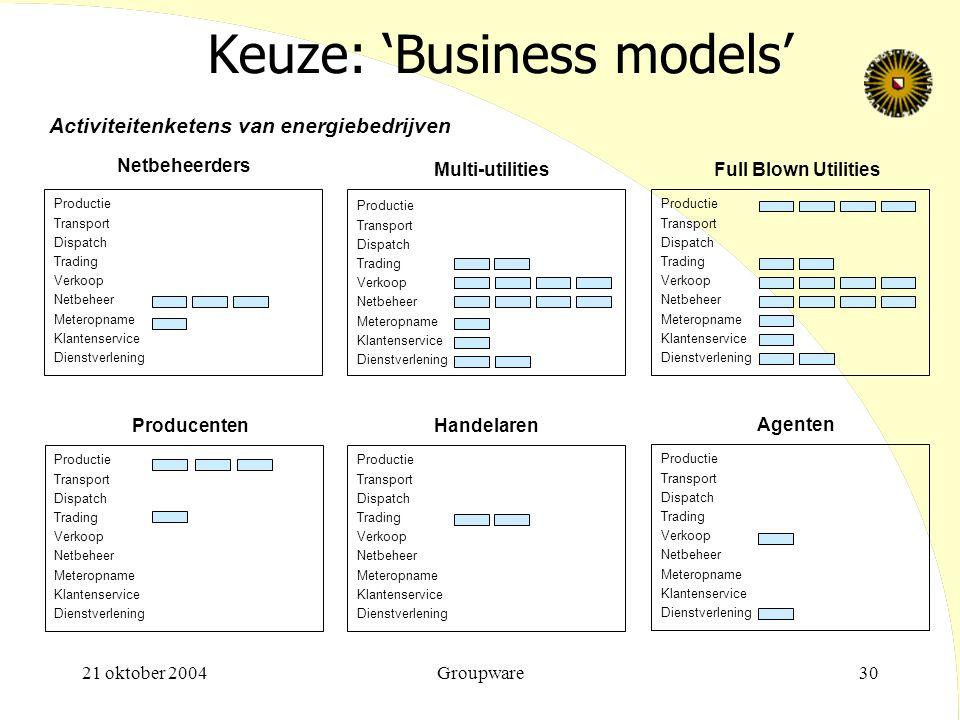 Keuze: 'Business models'