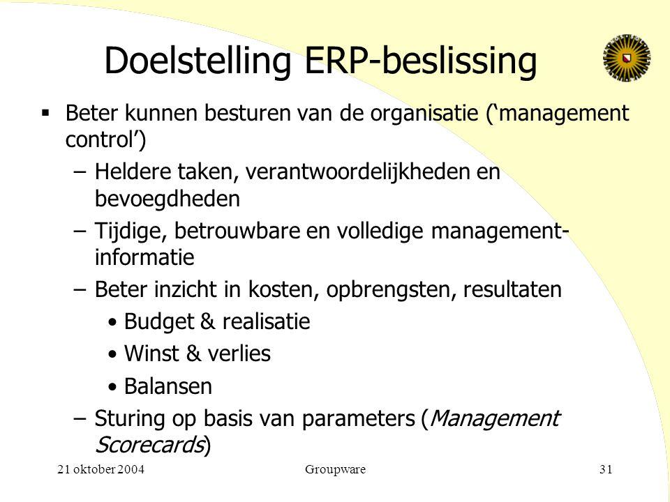 Doelstelling ERP-beslissing
