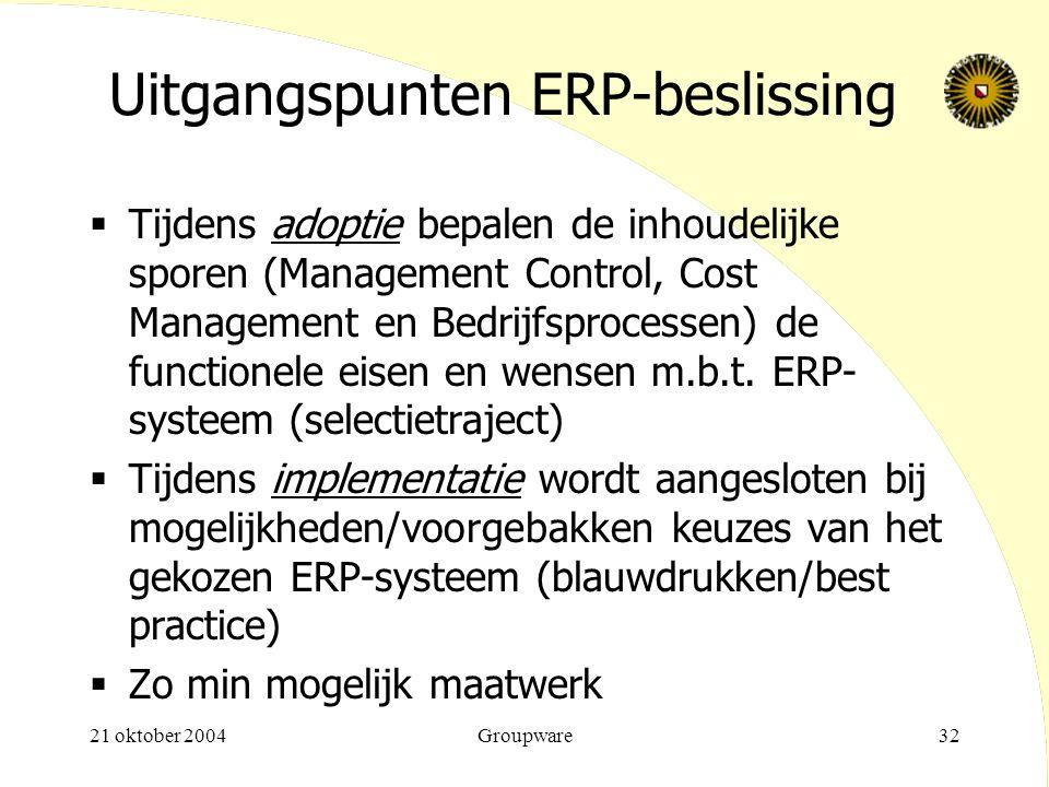 Uitgangspunten ERP-beslissing