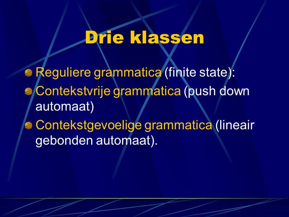 Drie klassen Reguliere grammatica (finite state):