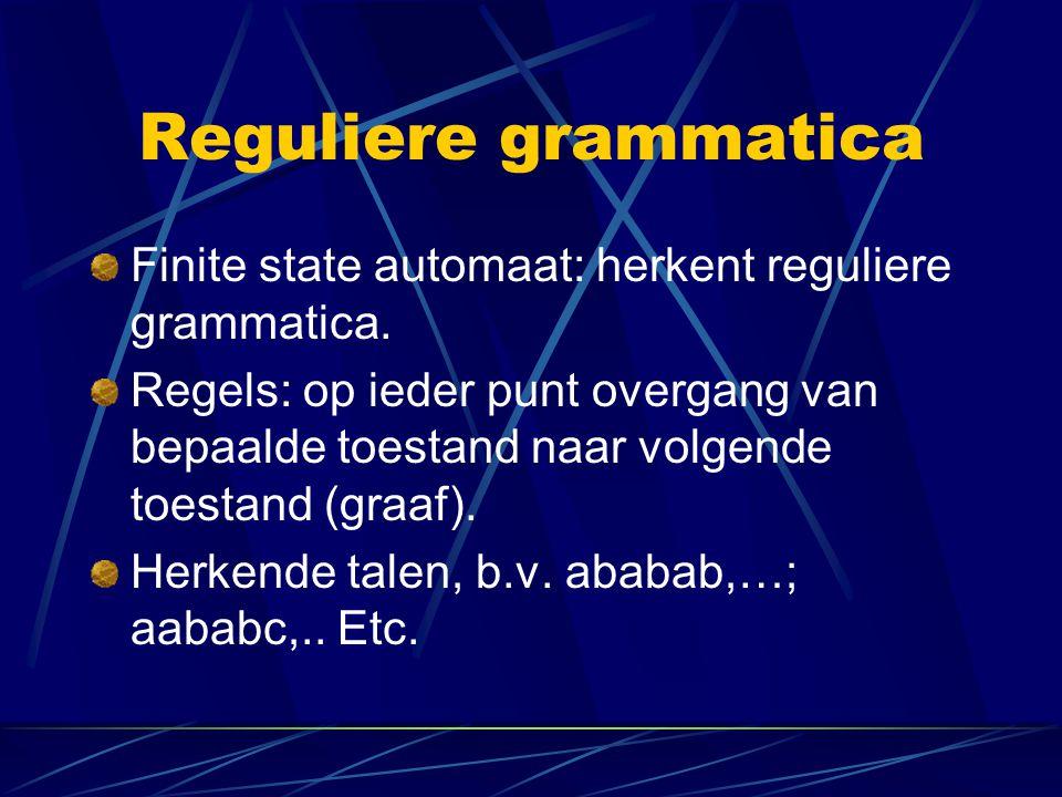 Reguliere grammatica Finite state automaat: herkent reguliere grammatica.