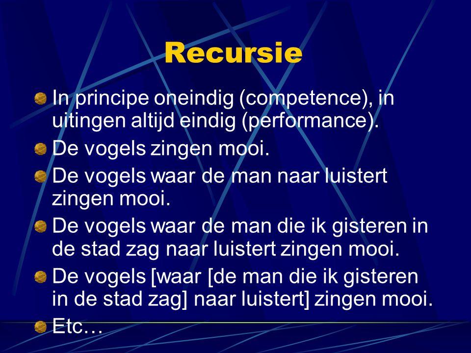 Recursie In principe oneindig (competence), in uitingen altijd eindig (performance). De vogels zingen mooi.