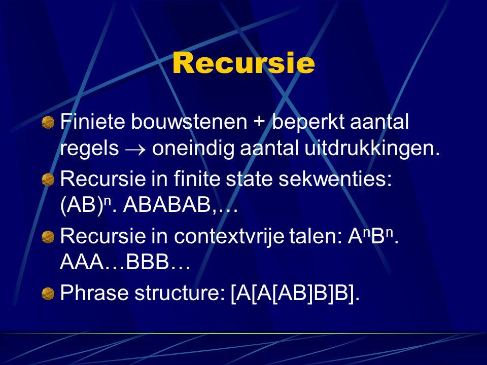 Recursie Finiete bouwstenen + beperkt aantal regels  oneindig aantal uitdrukkingen. Recursie in finite state sekwenties: (AB)n. ABABAB,…
