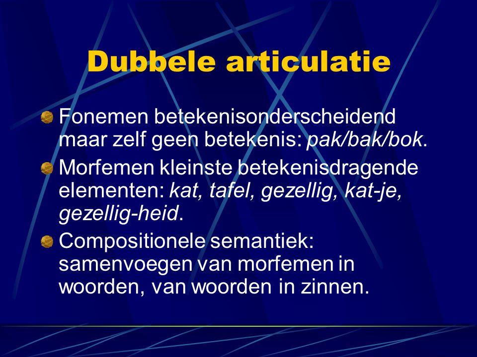 Dubbele articulatie Fonemen betekenisonderscheidend maar zelf geen betekenis: pak/bak/bok.