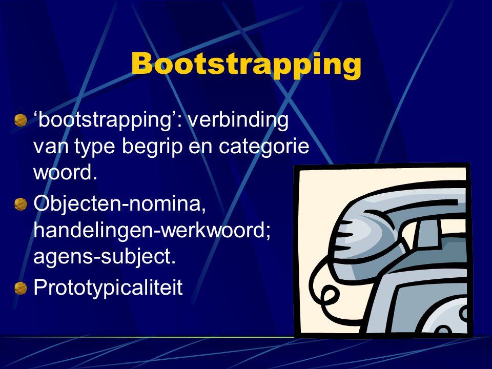 Bootstrapping 'bootstrapping': verbinding van type begrip en categorie woord. Objecten-nomina, handelingen-werkwoord; agens-subject.
