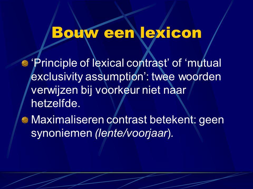 Bouw een lexicon 'Principle of lexical contrast' of 'mutual exclusivity assumption': twee woorden verwijzen bij voorkeur niet naar hetzelfde.