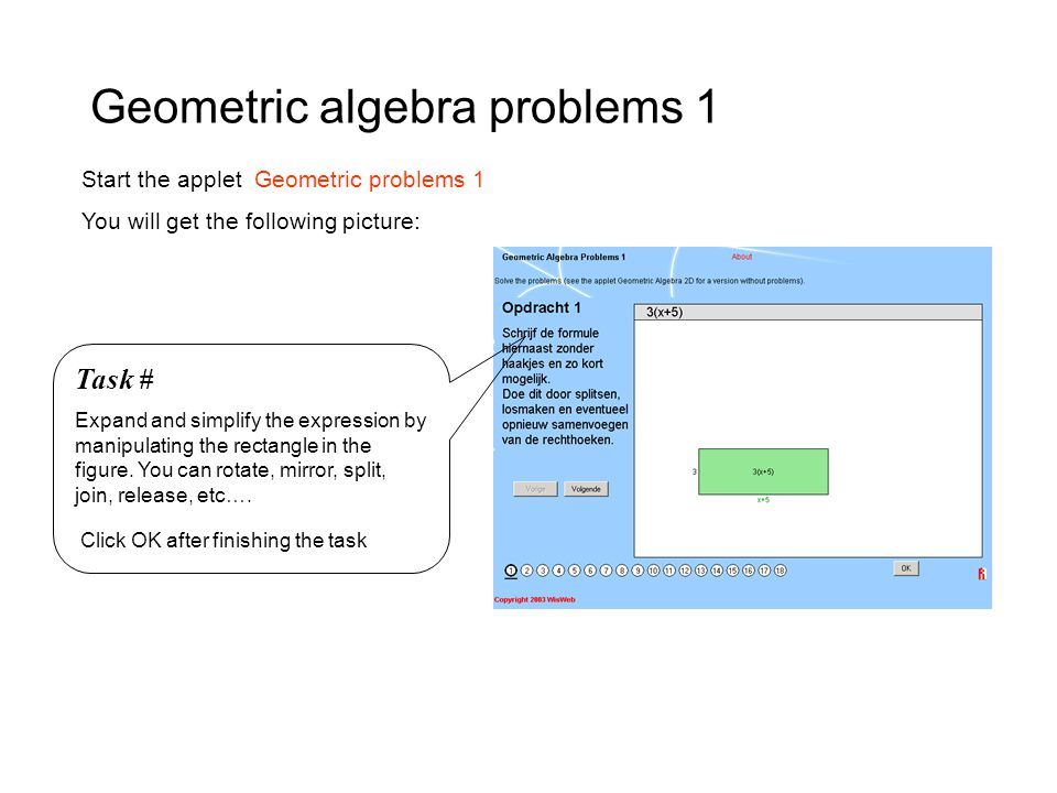 Geometric algebra problems 1