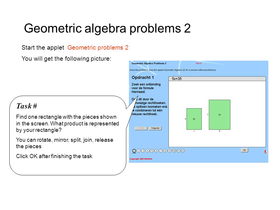 Geometric algebra problems 2