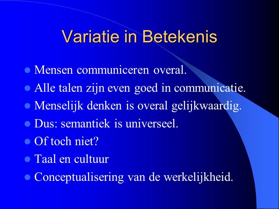 Variatie in Betekenis Mensen communiceren overal.