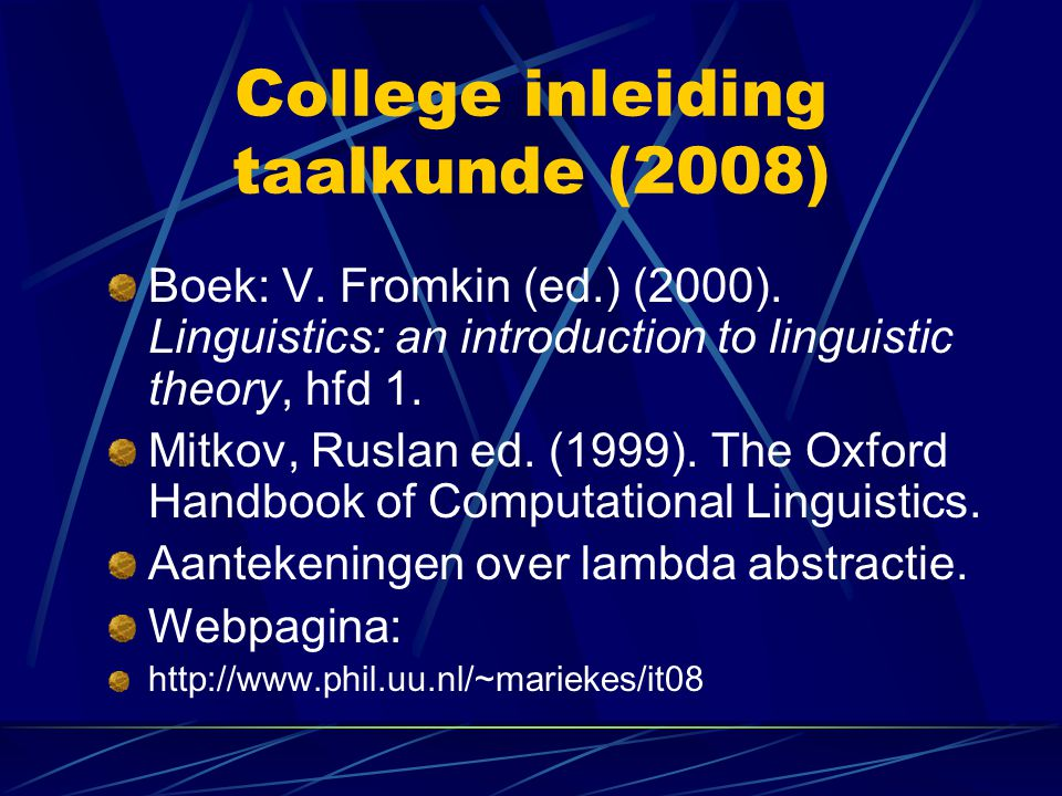 College inleiding taalkunde (2008)