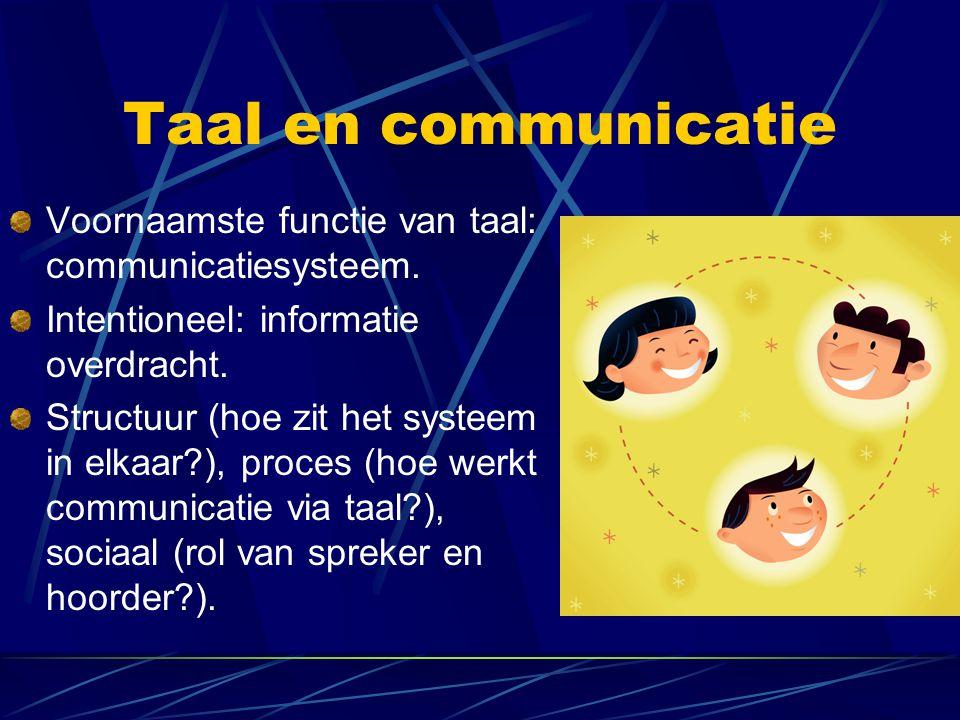 Taal en communicatie Voornaamste functie van taal: communicatiesysteem. Intentioneel: informatie overdracht.