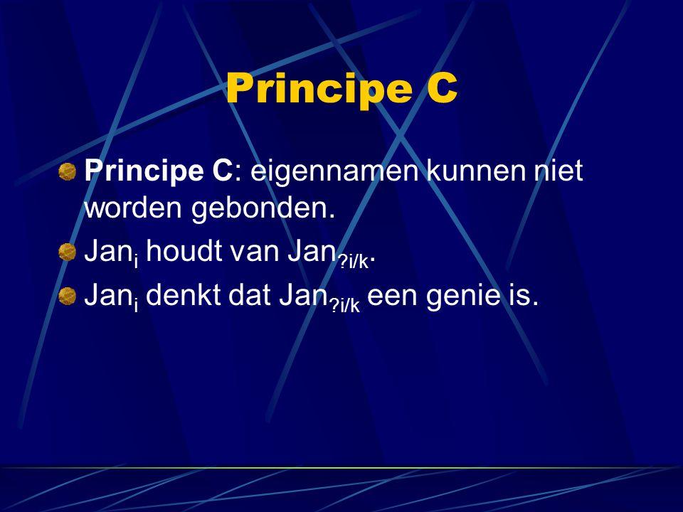 Principe C Principe C: eigennamen kunnen niet worden gebonden.