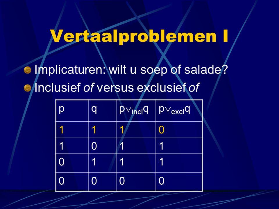 Vertaalproblemen I Implicaturen: wilt u soep of salade