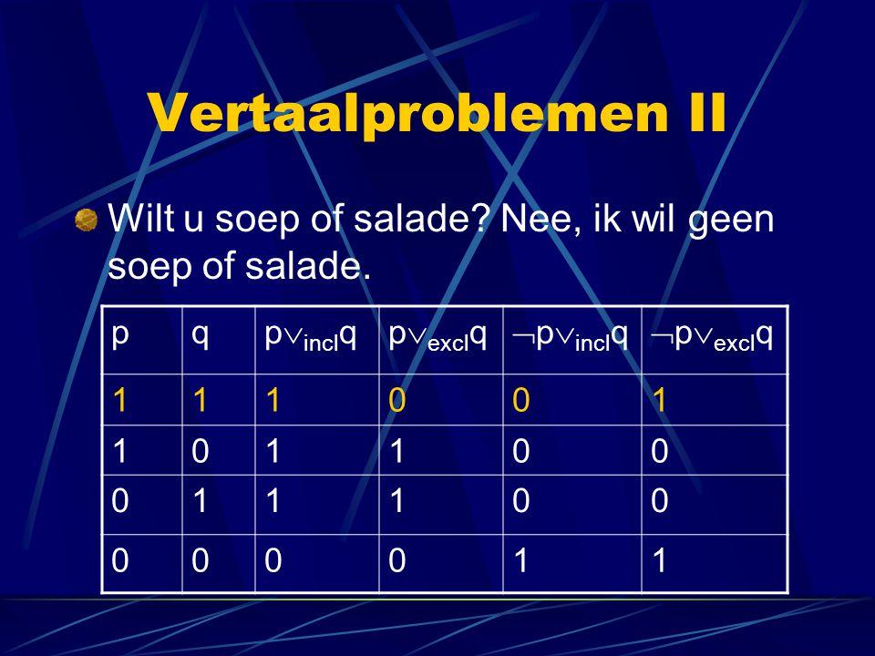 Vertaalproblemen II Wilt u soep of salade Nee, ik wil geen soep of salade. p. q. pinclq. pexclq.
