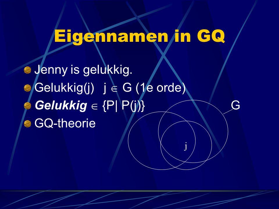 Eigennamen in GQ Jenny is gelukkig. Gelukkig(j) j  G (1e orde)