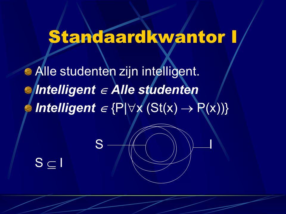 Standaardkwantor I Alle studenten zijn intelligent.