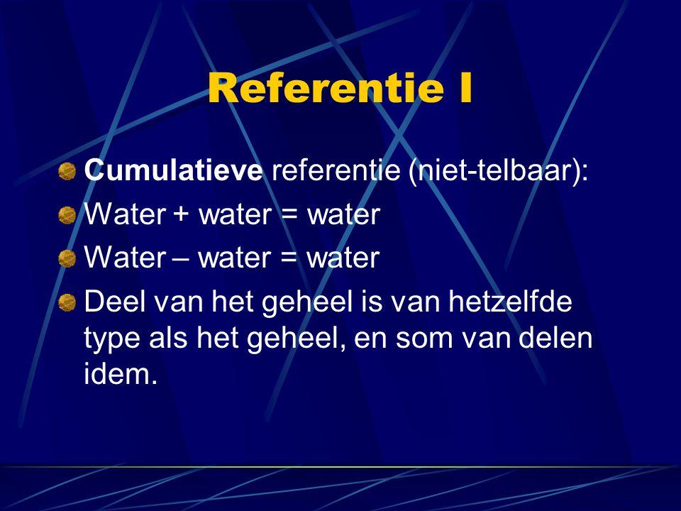 Referentie I Cumulatieve referentie (niet-telbaar):