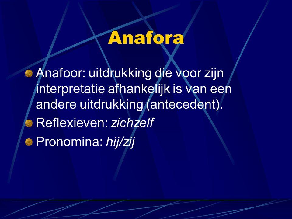 Anafora Anafoor: uitdrukking die voor zijn interpretatie afhankelijk is van een andere uitdrukking (antecedent).