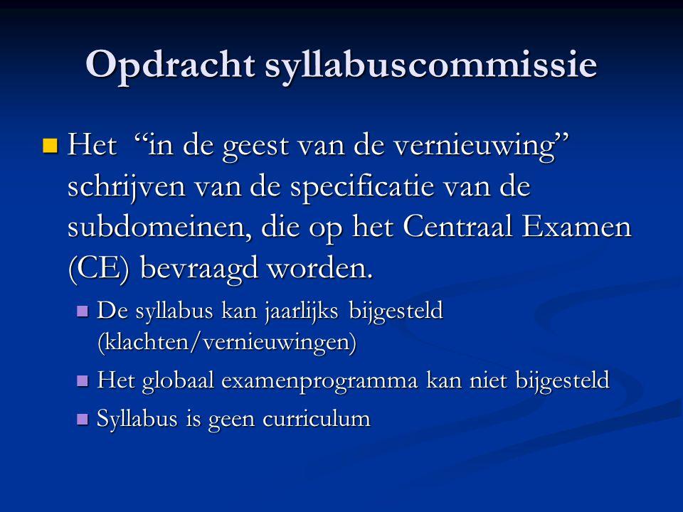 Opdracht syllabuscommissie