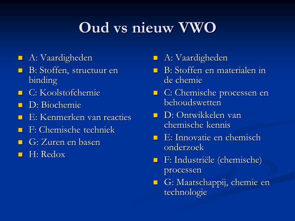 Oud vs nieuw VWO A: Vaardigheden B: Stoffen, structuur en binding