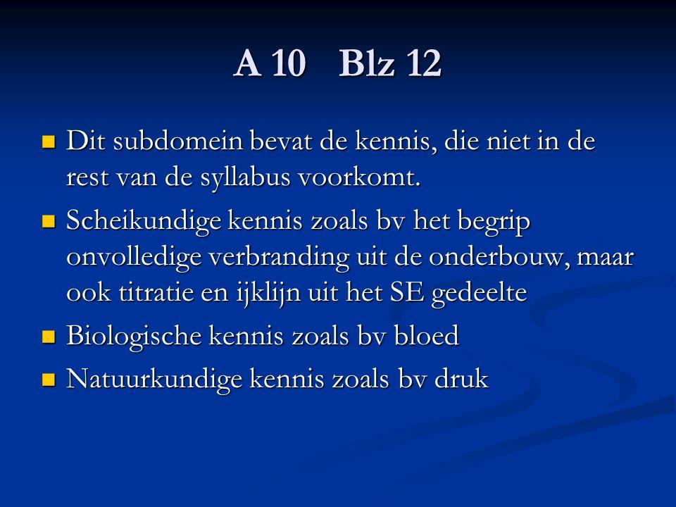 A 10 Blz 12 Dit subdomein bevat de kennis, die niet in de rest van de syllabus voorkomt.