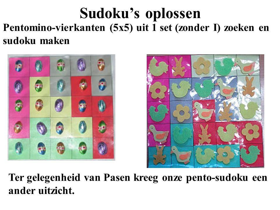 Sudoku's oplossen Pentomino-vierkanten (5x5) uit 1 set (zonder I) zoeken en sudoku maken.