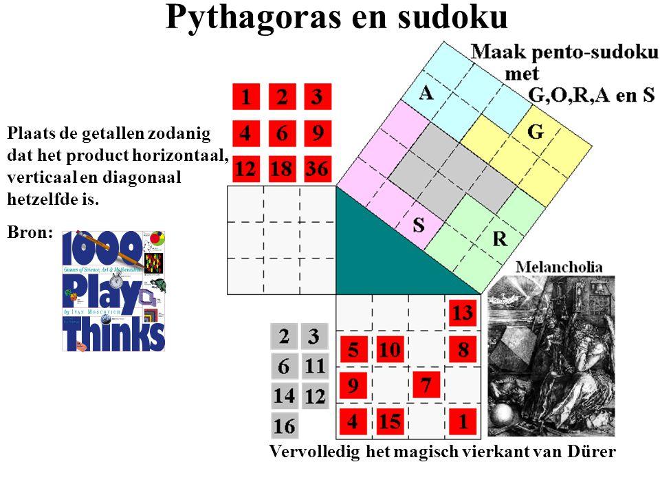 Pythagoras en sudoku Plaats de getallen zodanig dat het product horizontaal, verticaal en diagonaal hetzelfde is.