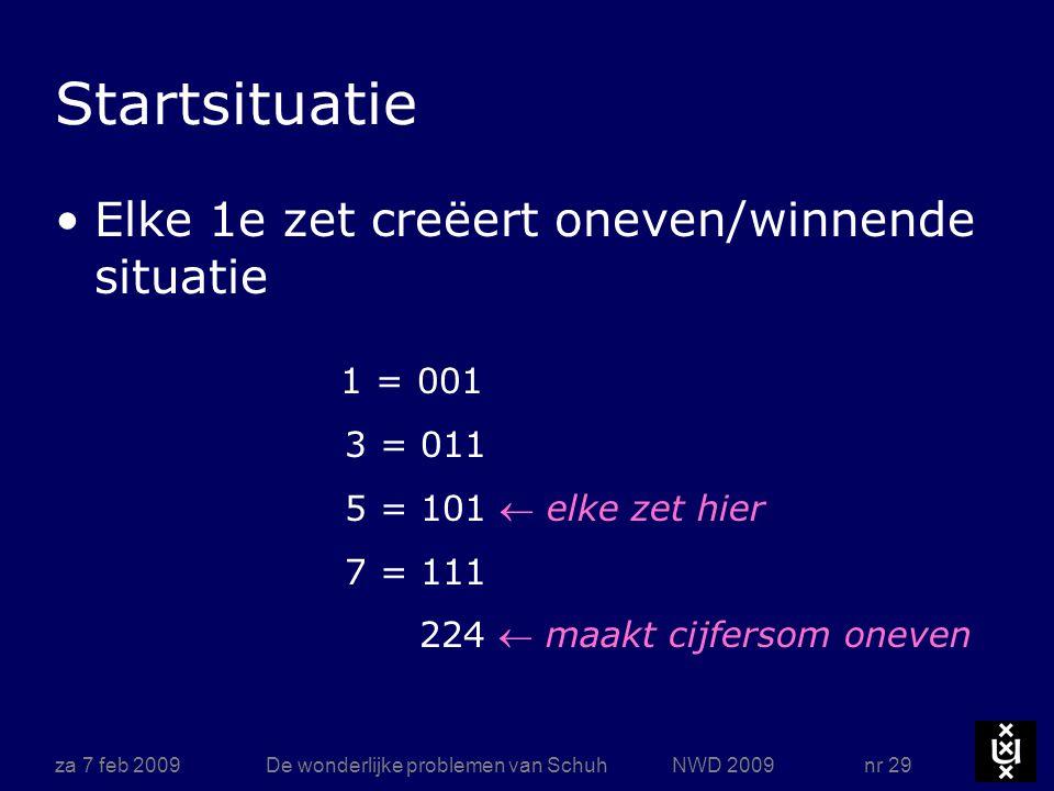 Volgende situatie Elke oneven/winnende situatie kan even/verliezend gemaakt worden. 1 = 001. 3 = 011.