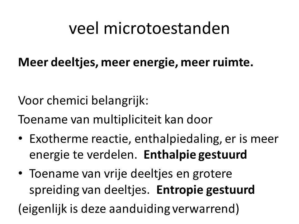 veel microtoestanden Meer deeltjes, meer energie, meer ruimte.