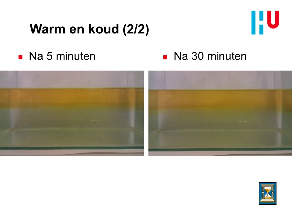 Warm en koud (2/2) Na 5 minuten Na 30 minuten