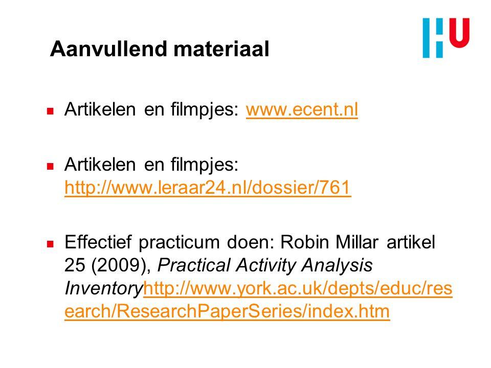 Aanvullend materiaal Artikelen en filmpjes: www.ecent.nl