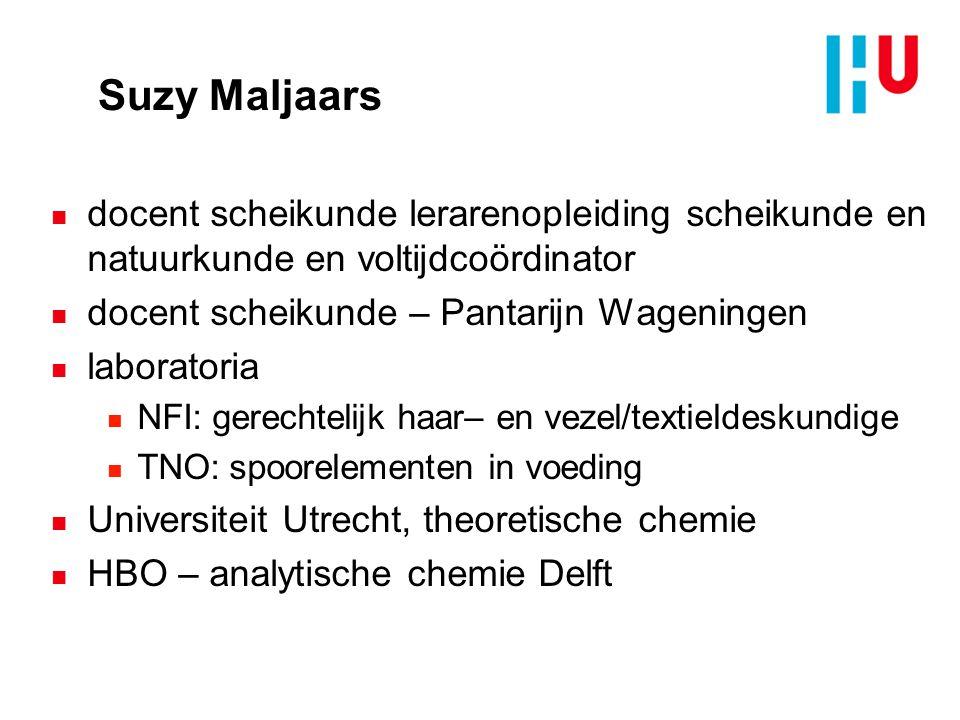 Suzy Maljaars docent scheikunde lerarenopleiding scheikunde en natuurkunde en voltijdcoördinator. docent scheikunde – Pantarijn Wageningen.