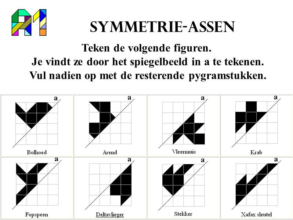 Symmetrie-assen Teken de volgende figuren. Je vindt ze door het spiegelbeeld in a te tekenen.